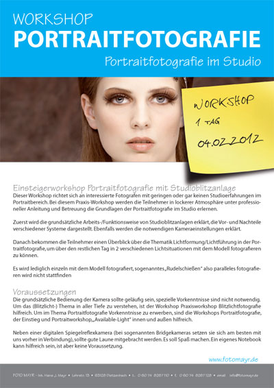 Workshop Portraitfotografie im Studio