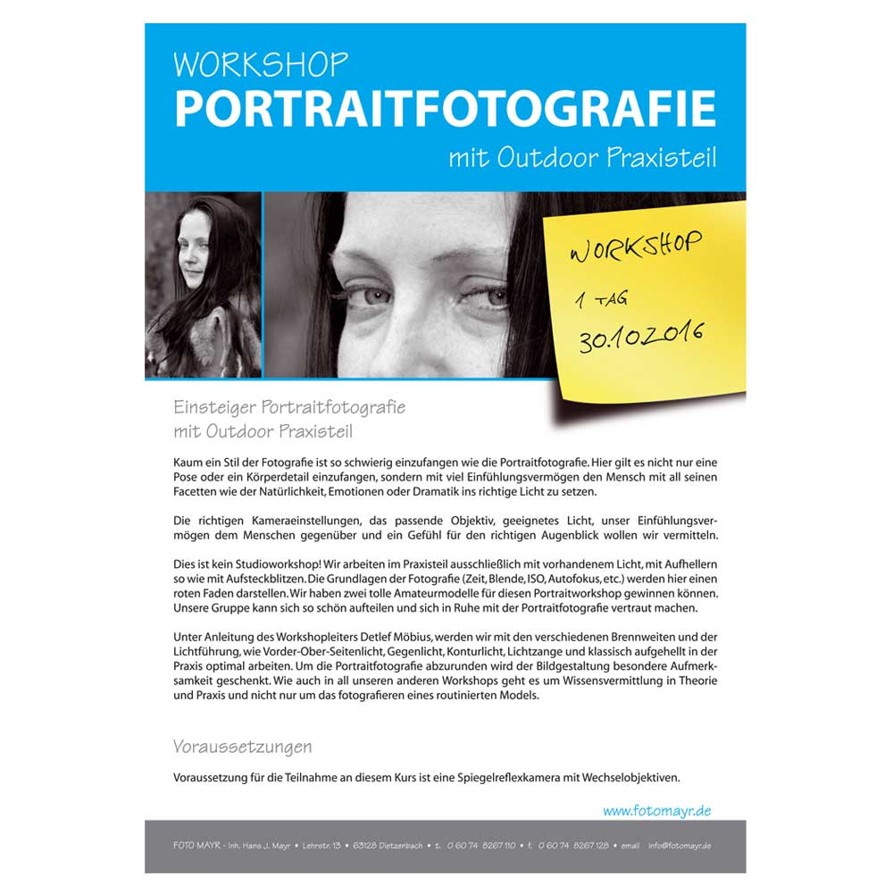 Workshop Portraitfotografie 2016