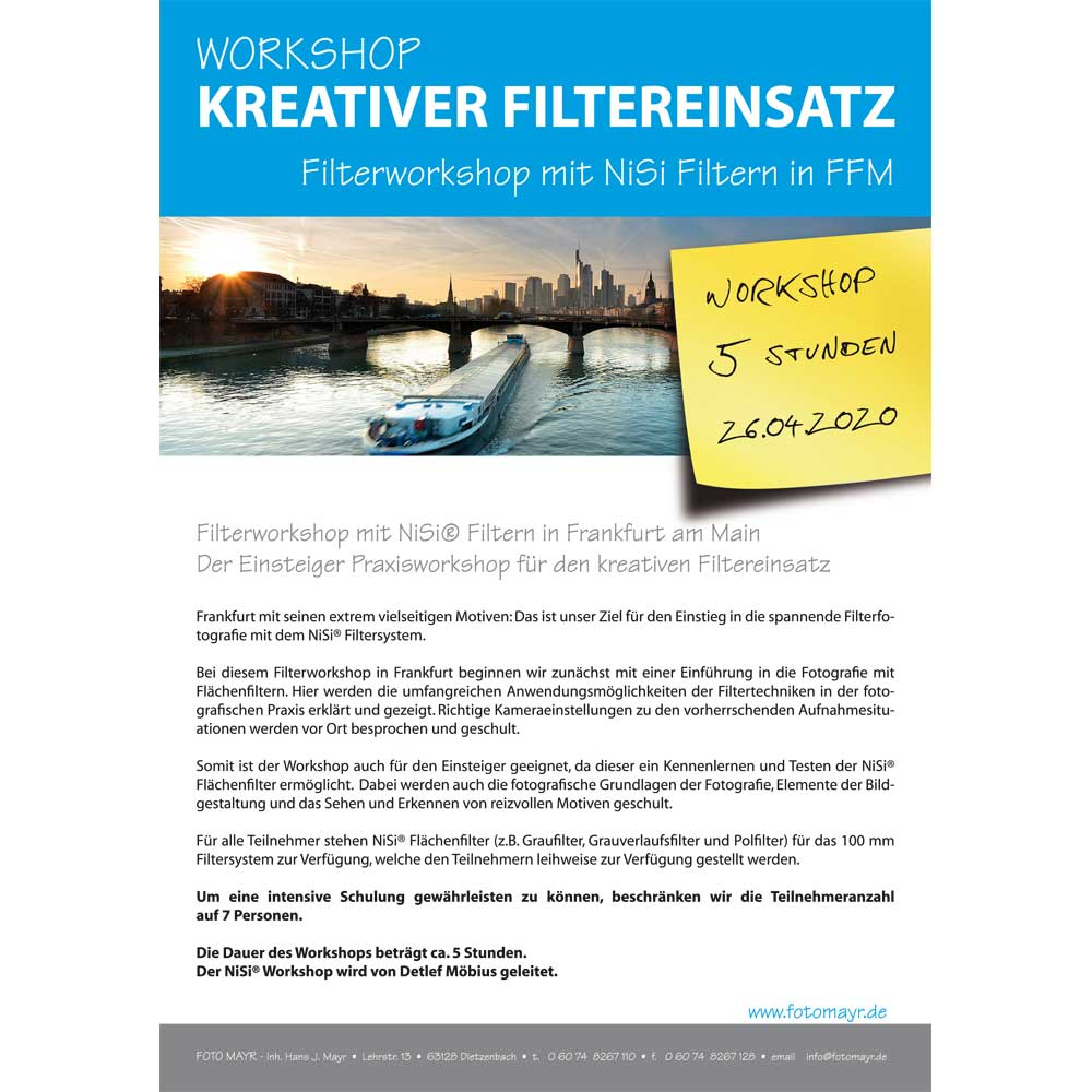 Filterworkshop mit NiSi Filtern in FFM