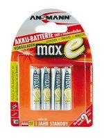 Ansmann MAX E -NiMh Akku Micro (AAA) - 800 mAh (4er Blister)