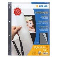Herma Fotokarton 20 Blatt schwarz mit Pergamin 23x29,7...
