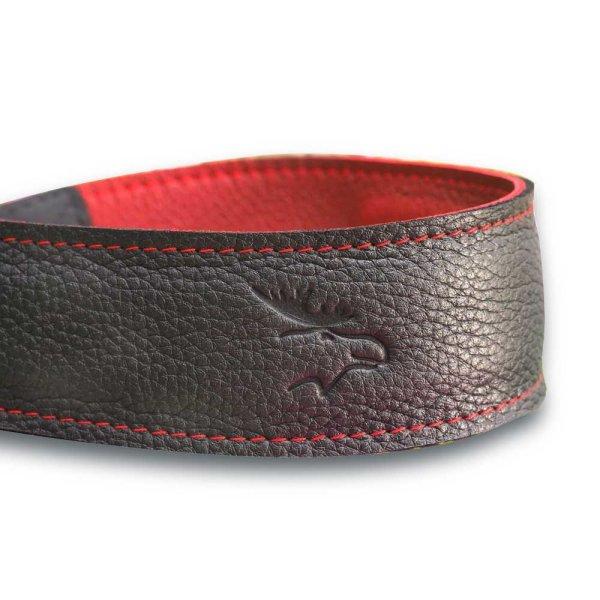 Eddycam Elchgurt Leder Tragegurt # 5015 Edition 50 mm schwarz/rot | Naht rot