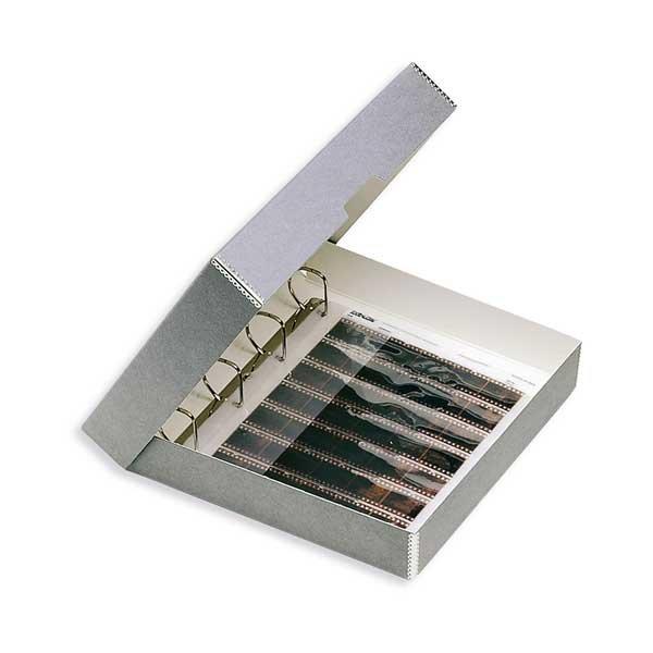 Ordnerkassette aus Monogard Archivkarton grau, 4-Loch Ringmechanik für 150 Hülle